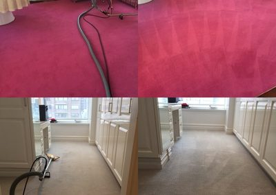 before and after red rug